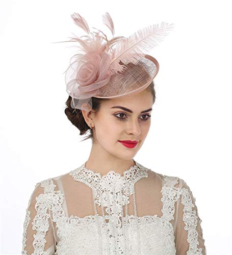 9051edd327dd6 SAFERIN Fascinators Hat Sinamay Flower Mesh Feathers on a Headband and a  Clip Tea Party Headwear