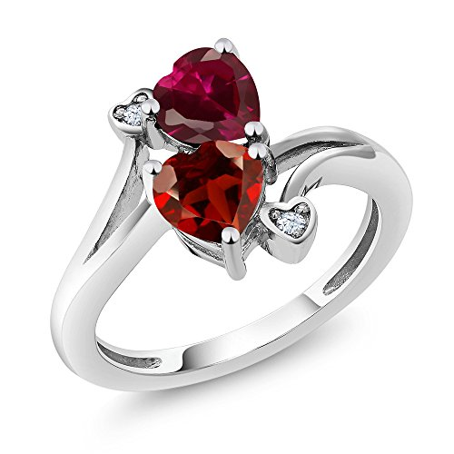 1.89 Ct Heart Shape Red Garnet Red Created Ruby 925 Sterling Silver Ring (Ring Size 8) (Shape Heart Sterling)