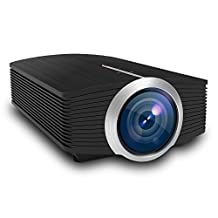 "OMZER Mini LED Projector With 1600 Lumens 1080P Video Dispaly 130"" Portable Home Cinema Projector Lasts For 30000hours Support PC HDMI AV USB SD Card For Games Home Movie Outdoor Party"