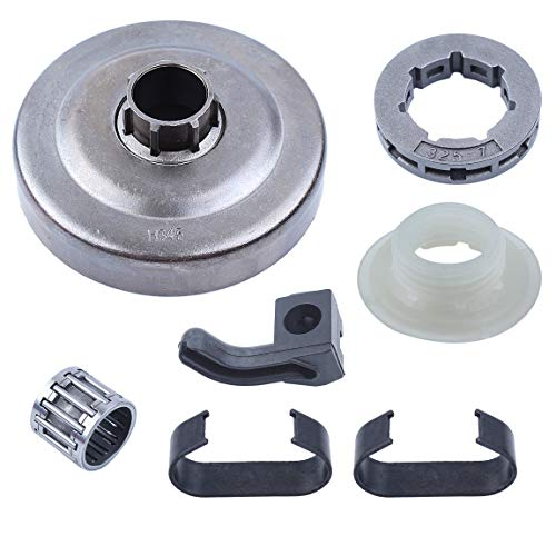 Haishine Clutch Drum Sprocket Spring Worm Gear Oil Pickup Rubber Kit for Husqvarna 340 350 345 351 353 445 445e 450 450e 346 XP Chainsaw
