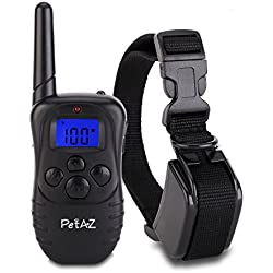 PetAZ Dog Training Collar With Remote Rechargeable & Rainproof LCD Screen 330 Yard Beep/Vibration/Shock Electric Train Collars For Small, Medium, Large Pets&Dogs(For 1 Dog)