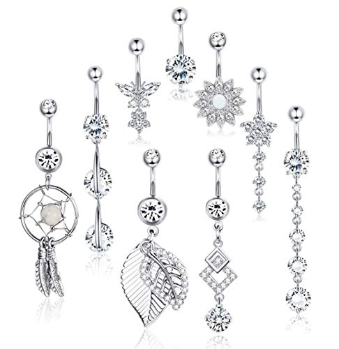Yadoca 9 Pcs 14G Stainless Steel Dangle Belly Button Rings for Women Girls Body Curved Barbell Piercing Set Navel Bar Rings CZ Flower ()