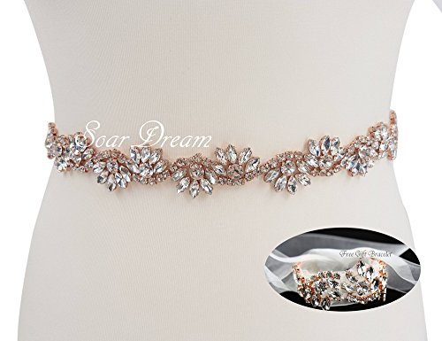(White Organza Bridal Belts and Wedding Bracelet Rose Gold Rhinestone Appliques Pearls Beaded Embellishments Handcrafted Sparkle Elegant Sewing for DIY Wedding Prom)