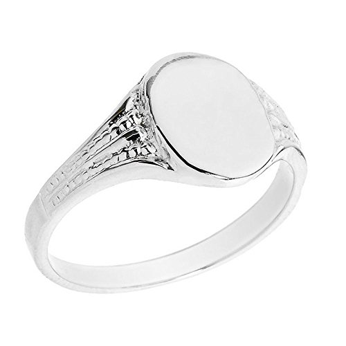 925 Sterling Silver Textured Band Engravable Oval Face Signet Ring (Size 7)