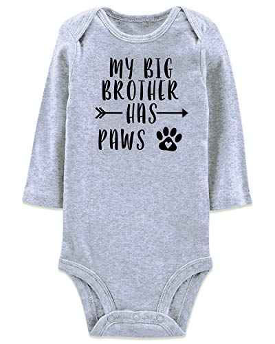 BFUSTYLE Child Baby Boy Girl Unisex Funny Onesie My Big Brother Have Paws Print Long Sleeve Winter Romper Shower Gift Organic Gray Bodysuit Extender Shoulder Cloth Bulk Newborn 0-3 Months (Best Brand For Newborn Baby Clothes)