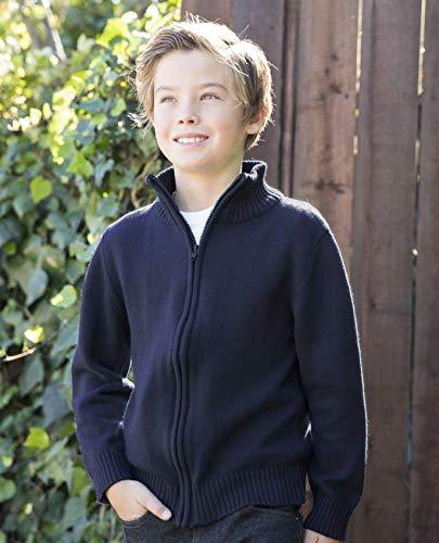 Gioberti Boy's Knitted Full Zip 100% Cotton Cardigan Sweater, Navy, Size 7 by Gioberti (Image #2)