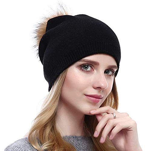 MOHOLL Womens Winter Knitted Beanie Hat with Faux Fur Pom Warm Knit Skull Cap Beanie for Women from ✪ MOHOLL Top ➤Clearance Sales
