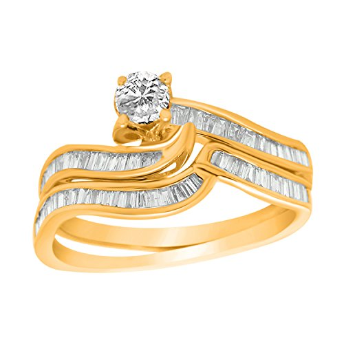 OMEGA JEWELLERY IGI-Certified 10K Yellow Gold Round & Baguette Diamond Swirl Bypass Bridal Ring Sets for Women (0.73 Ct) (Baguette Swirl Bypass Ring)