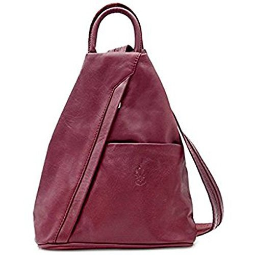 Bolso de cuero suave con cremallera convertible en mochila y bandolera, diseño italiano Vino