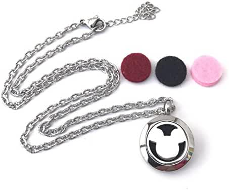FIKA Child Mickey Mouse Aromatherapy Essential Oils Diffuser Air Freshener Necklace Pendant Locket Pads included