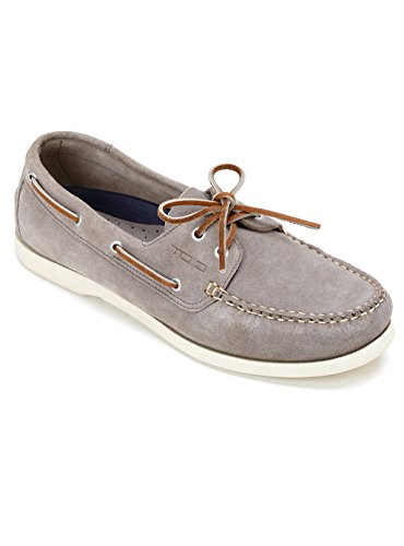 TOIO Mens HARBOUR SHOE MOCASSIN Handcrafter 100% leather Tortora rubber sole with anti-slip tread 43 Suede boat shoe with laces and eyelets (Leather Harbour)