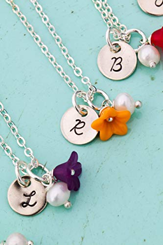 Flower Girl Necklace - DII AAA - Dainty Colorful Wedding Party Bridesmaid Charm - Bridal Handstamped Handmade Jewelry - 3/8 Inch 9MM Disc - Choose Initial
