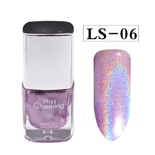 Oksale 7ML Nail Polish Pretty Holographic Holo Glitter Gel Polish Nail Art Holographic (F)