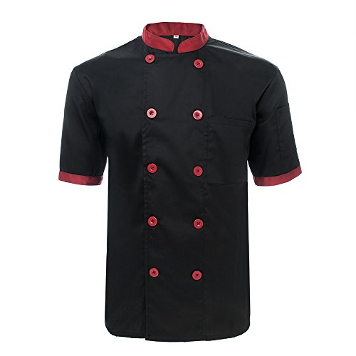 TopTie Unisex Short Sleeve Chef Coat Jacket, Black and Red by TopTie