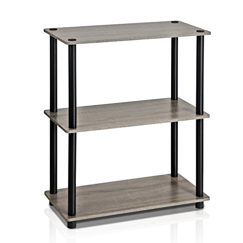 FURINNO 10024GYW/BK Turn-N-Tube 3-Tier Compact Multipurpose Shelf Display Rack, French Oak Grey/black