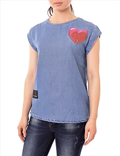Ask 4 Jeans Women Short Sleeve Denim Blouses With Heart Patch  Medium