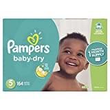 Diapers Size 5, 164 Count - Pampers Baby Dry Disposable Baby Diapers, ONE MONTH SUPPLY