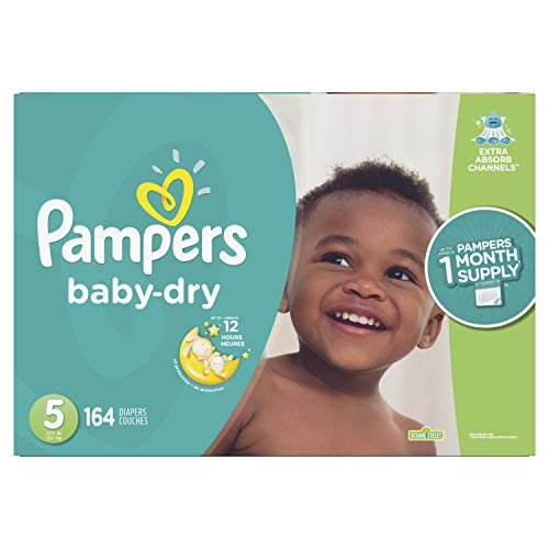 Diapers Size 5, 164 Count - Pampers Baby Dry Disposable Baby Diapers, ONE MONTH SUPPLY (Packaging May Vary) from Pampers