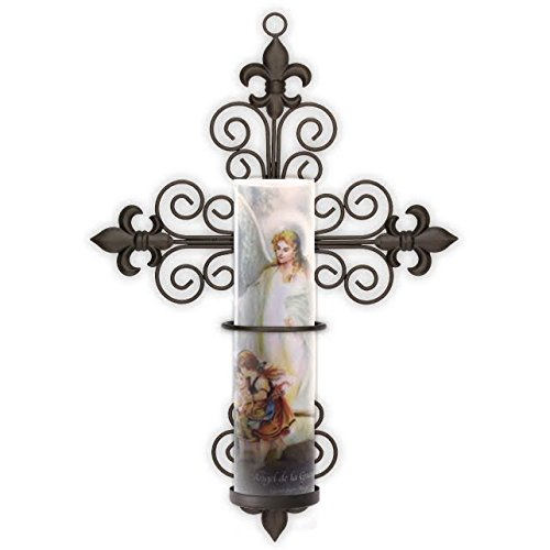 Guardian Angel, LED Flameless, with Cross Fleur-de-lis wall Sconce, Candle comes with 6 Hour Timer, Safety Guard Ring For All 8.1875''x2.375'', LED, Flameless or Flame Candles , by The Saints Gift Collection