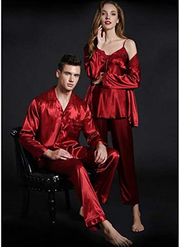AXIANQIPJS męska piżama z długim rękawem spodnie Thin Section Ice Silk Wesele Piżama Kobiety Straps Świeże małżeństwo Para garnituru Red Sexy Natal Rok bielizna nocna (kolor: