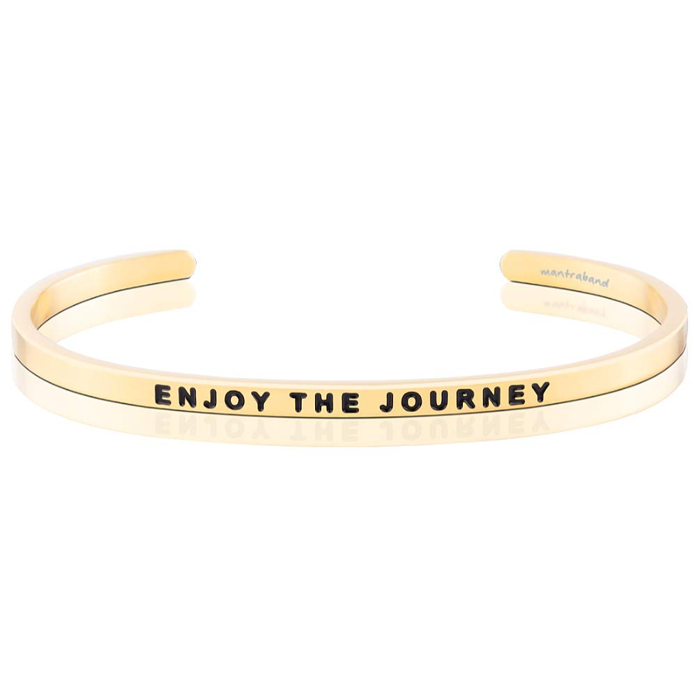 MantraBand Bracelet - Enjoy The Journey - Inspirational Engraved Adjustable Mantra Cuff - Yellow Gold - Gifts for Women (Yellow)