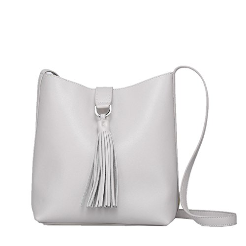 Casual LxWxH Fashion Handbag Bag Grey VQ0837 Shoulder Women 25X11X23CM Leather DISSA XTqpABwc