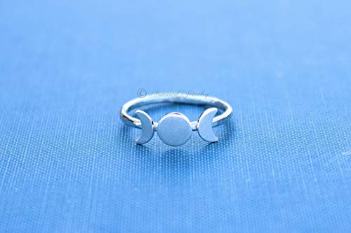 (Triple Goddess Ring, Silver Moon Ring, Moon Phase Ring, Crescent Moon Ring, Wicca ring, Wicca Jewelry, Lunar Phases, Statement Ring, Boho)