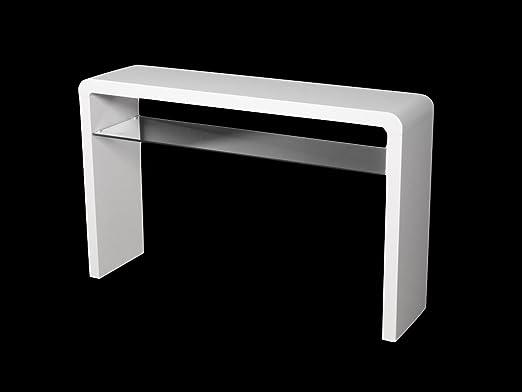 Atlanta blanco mesa consola con estante de cristal – gran mesa de ...