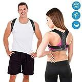 Posture Corrector Back Support Brace for Men & Women, Fully Adjustable Upper Back Brace Posture Belt Back Shoulder for Providing Pain Relief from Neck, Back, Shoulder & Bad Posture (Black)