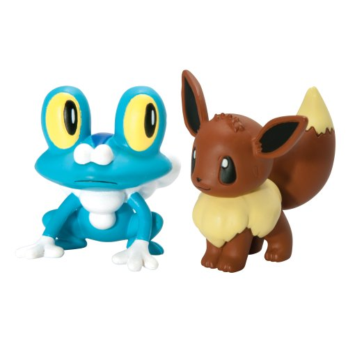 Pokémon 2 Pack Small Figures Froakie vs Eevee (Holo 2 Costumes)