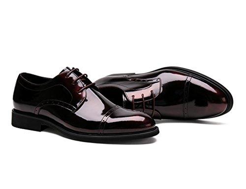 Homme Classique Commercial Leather Chaussures en cuir pour hommes d'affaires formelles portent des chaussures de mariage en dentelle pointue chaussures simples Cuir ( Couleur : Vin rouge , taille : EU Vin Rouge