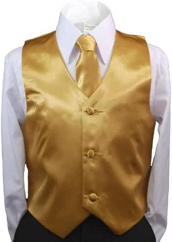 2pc Boys Satin Gold Vest and Necktie Set from Baby to Teen (5)