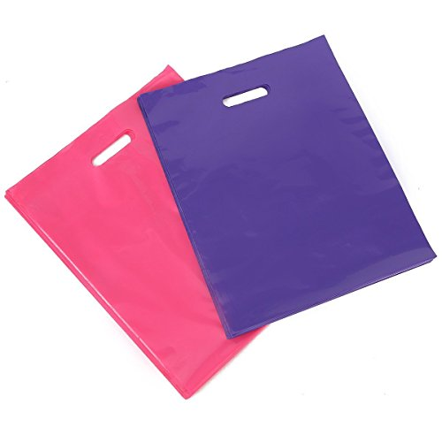 "[ 100 Count, 12"" X 15"" ] Extra Durable 2.0 Mil Glossy Pink and Purple Merchandise Bags, Premium Plastic Retail, Shopping, Party, Gift Bags – PackItChi…"