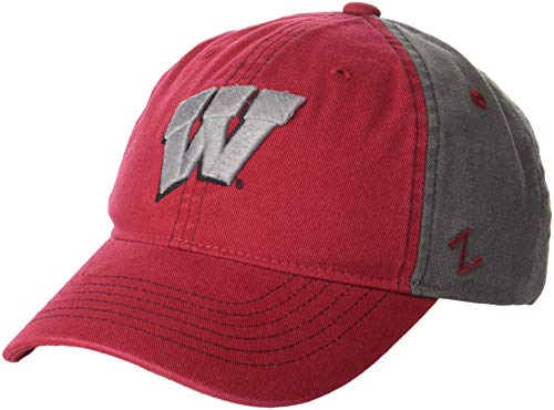 Zephyr NCAA Wisconsin Badgers Men's Moonscape Relaxed Cap, Adjustable, Grey/Team Color