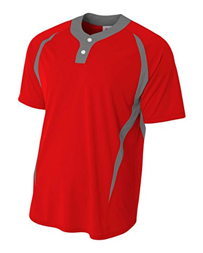 (Scarlet/Grey Adult 2X (Blank) Two-Button 2-Color Henley Placket Uniform Jersey Top)