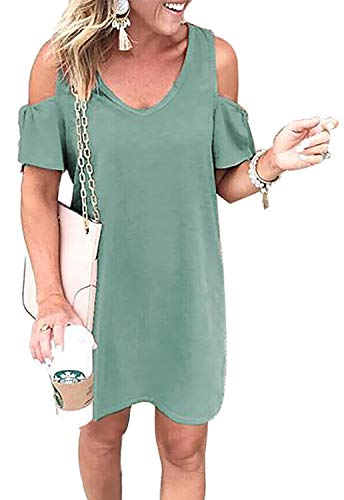 Knot Swing Dress (BTFBM Women Summer Dresses Casual Loose Fitting Cold Shoulder Tie Knot Sleeves Long T-Shirt Tunic Swing Dress (Green, X-Large))