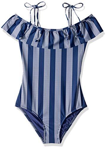 Splendid Big Girls' Ruffle One Piece Swimsuit, Long Lines Navy, 7 ()