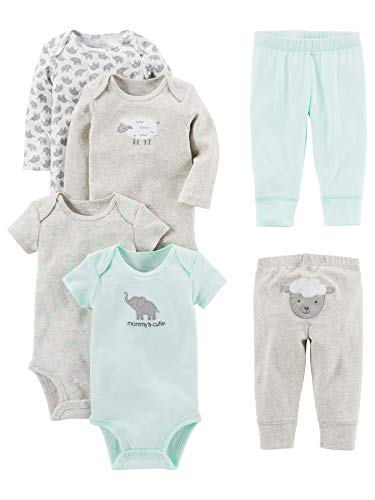 Simple Joys by Carter's Baby 6-Piece Neutral Bodysuits (Short and Long Sleeve) and Pants Set, Gray Lamb, 3-6 Months (Best Gifts For Infants)