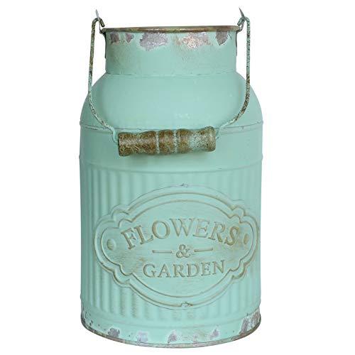 APSOOSELL Green Metal Flower Vase Round Galvanized Bucket Pot Planter Rustic Container Farmhouse Decor Kitchen Bathroom (Antique Vase Green)