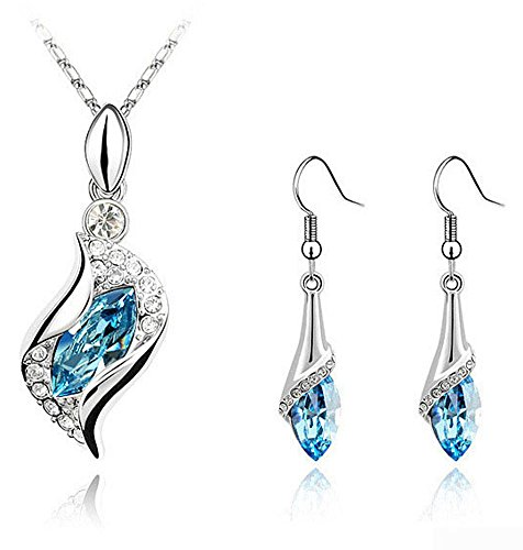 CrazyPiercing Long Teardrop False Swarovski Element Set Austria Crystal Fashion Earrings Pendant Necklace (Swarovski Crystal Long Necklace)