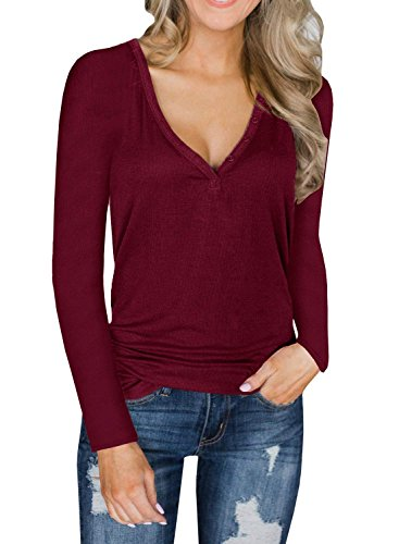 Uvog Women's Deep V Neck Tunic Tees Long Sleeve Blouse Tops with Button Down Wine Red,Large