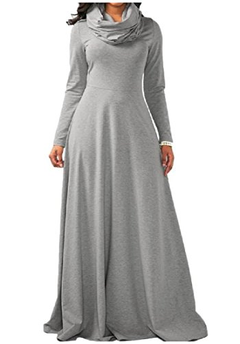 Casual Women's Grey Comfy Dress Length Waist Neck Floor Cowl Accept Maxi OZwwpq