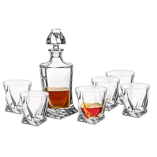 Crystalex-Bohemia-Red-Quadro-Decanter-30-Ounce-Bohemian-Lead-Free-Crystal-Glass-Scotch-Whiskey-or-Vodka-Carafe-with-Glass-Stopper