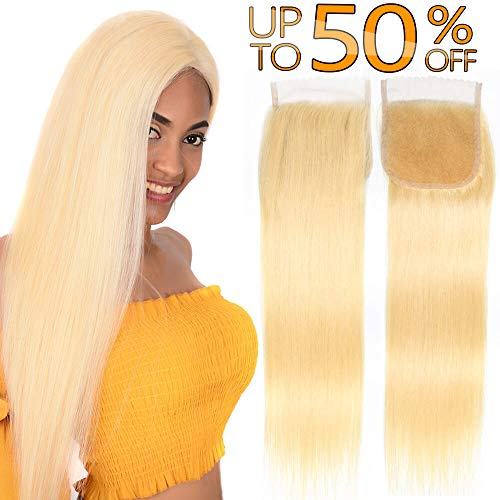 Best #613 Bleach Blonde Brazilian Human Hair Factory 4x4 Swiss Lace Closure With Baby Hair Free Part Peruvian Silky Straight Cheap Indian Malaysian Virgin Remy Hair Top Closures One Piece 16 inch (Best Malaysian Hair Vendors)
