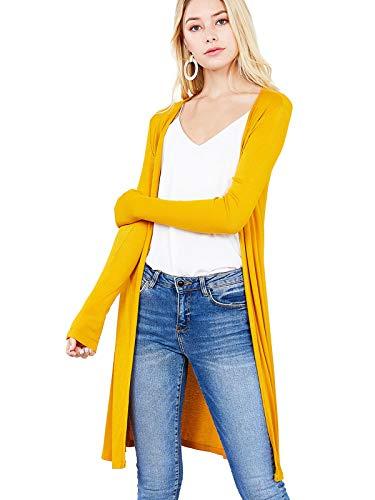 Instar Mode Women's Long Sleeve Open Front Side Slit Tunic Length Rib Cardigan Mustard L (Jersey Kimono)