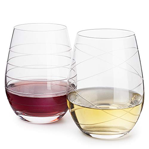 DAQQ Stemless Wine Glasses - Set of 2 Crystal Etched Designed Glasses - Dishwasher Safe - 22 Oz Engraved Ornaments Large Glasses for Red and White Wine - Gift for Women/Mom - Elegant Gift Box