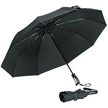 Arrela Anti UV Umbrella, Compact Travel Umbrella Windproof Waterproof UV Protection Folding Auto Open Close Umbrella with 10 Ribs Comfort Handle for Women Men Black