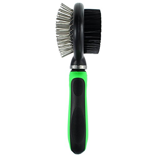 Dog Grooming Brush for Shedding Pet With Long or Short Hair - Dual 2 in 1 Pin and Bristle Quick and Easy to Use With Swivel Head for Extra Comfort Fuzzy Family Supplies - Green