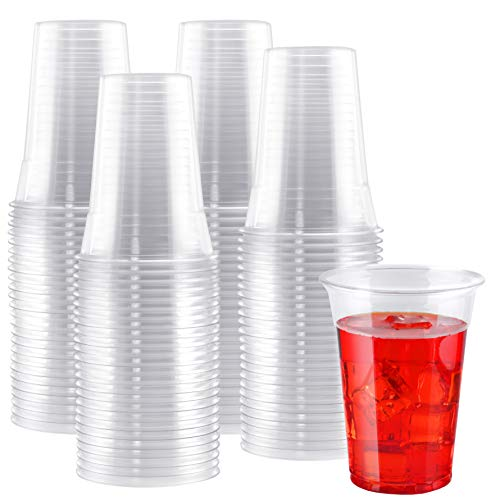NYHI 100-Pack 9 oz Clear Plastic Drink Cups | Value Pack of BPA-Free Party Clear Disposable Cups Tumblers Use These Clear Plastic Cup Glasses for Drinks, Punch, Champagne Essential Party Supplies