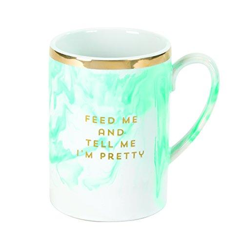 2 Stoneware Marble Mug, Feed Me and Tell Me I'm Pretty ()